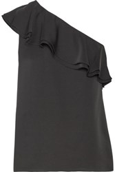 Theory Damarill One Shoulder Ruffled Silk Top Navy