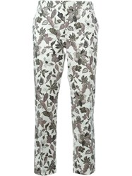 Tory Burch Leaf Print Cropped Trousers Nude And Neutrals