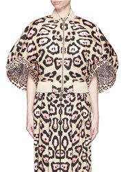 Givenchy Jaguar Print Bell Sleeve Bomber Jacket Neutral Animal Print