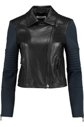 J Brand Aiah Neoprene Paneled Leather Biker Jacket Blue