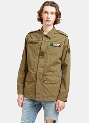 Saint Laurent Glittered Shark Embroidered Military Jacket Khaki