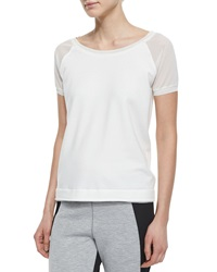 Elie Tahari Juliana Mesh Sleeve Open Back Tee