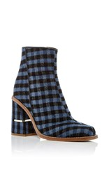 Tibi Nora Gingham Ankle Boots Navy