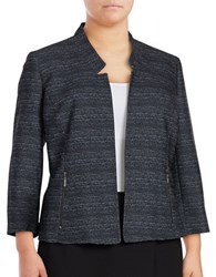 Nipon Boutique Plus Textured Zip Front Blazer Indigo Multi
