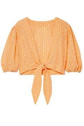 Lisa Marie Fernandez Woman Pouf Cropped Tie Front Broderie Anglaise Cotton Top Pastel Orange
