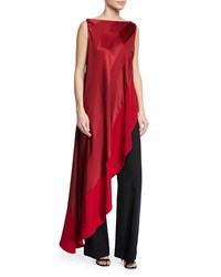 d6435c172517ce Zac Posen Asymmetric Sleeveless Blouse Medium Red