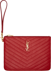 Saint Laurent Red Quilted Leather Monogram Zip Pouch