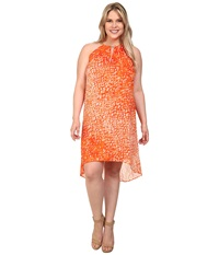 Michael Michael Kors Plus Size Sorento Tie Dye Dress Clementine Women's Dress Orange