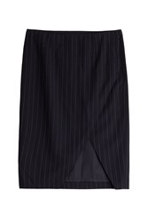 Polo Ralph Lauren Wool Pinstripe Pencil Skirt Black