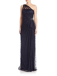 David Meister One Shoulder Lace Gown Navy