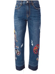 Msgm Sequin Paisley Embroidery Jeans Blue