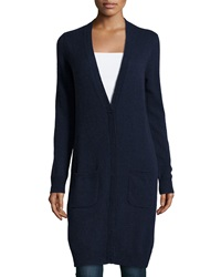 Minnie Rose Cashmere V Neck Long Cardigan Navy