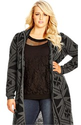 Plus Size Women's City Chic Geo Print Longline Hooded Cardigan