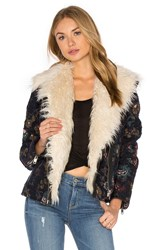 Free People Jaquard Wool And Faux Fur Jacket Blue