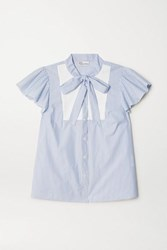 Red Valentino Redvalentino Pussy Bow Paneled Striped Cotton Blend Poplin Blouse Light Blue