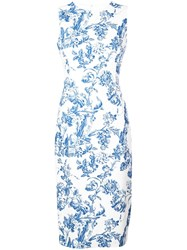 Oscar De La Renta Floral Print Pencil Dress Blue