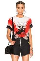 Baja East Tie Dye Cotton Tee In Ombre And Tie Dye Red White Yellow Ombre And Tie Dye Red White Yellow