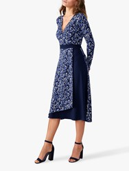 Pure Collection Jersey Wrap Dress Navy Spot