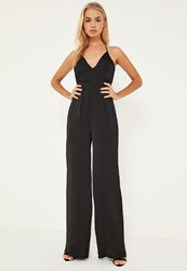 Missguided Black Silky Plunge Wide Leg Jumpsuit