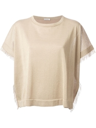 Brunello Cucinelli Fringe Sleeve Top Nude And Neutrals