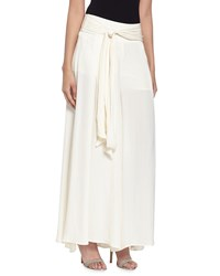 Philosophy Belted Charmeuse Palazzo Pants Latte Froth
