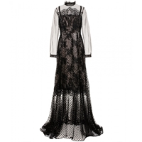Erdem Petula Polka Dot Tulle And Lace Gown Black