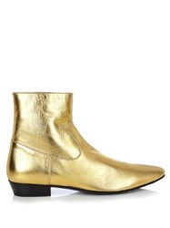 Saint Laurent Devon Leather Ankle Boots Gold Multi