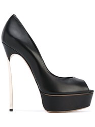 Casadei Peep Toe Pumps Women Leather Nappa Leather 37.5 Black