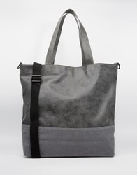 Asos Tote Bag With Faux Suede Trim Grey