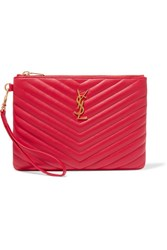 Saint Laurent Monogramme Quilted Leather Pouch Red
