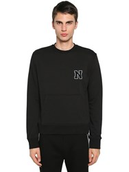 Neil Barrett Logo Patch Cotton Blend Jersey Sweater Black