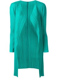 Pleats Please By Issey Miyake Pleated Cardigan Green