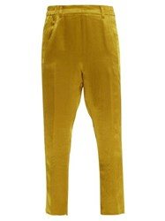 Ann Demeulemeester Cropped Hammered Satin Trousers Yellow