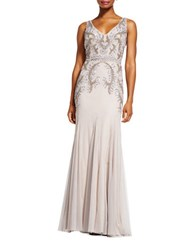 Adrianna Papell Beaded V Neck Gown Platinum