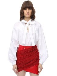 Sara Battaglia Baloon Cotton Poplin Shirt White