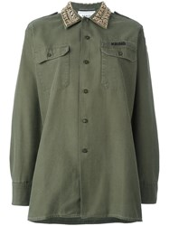 Forte Couture Embellished Collar Military Shirt Green