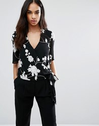 Lipsy Michelle Keegan Loves Embroidered Wrap Top Black