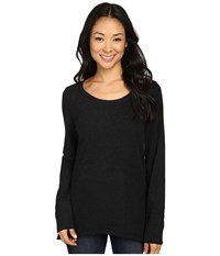Dylan By True Grit Luxe Suede Knit Vintage Crew Tee Black Women's T Shirt