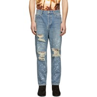 Balmain Blue Ripped Straight Fit Jeans