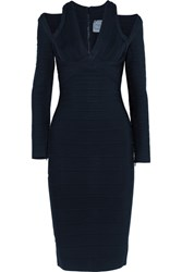 Herve Leger Cutout Bandage Dress Navy