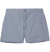 Officine Generale Roman Slim Fit Mid Length Seersucker Swim Shorts Navy