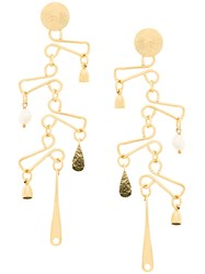 Wouters And Hendrix Technofossils Chandelier Earrings Metallic