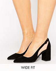 New Look Wide Fit Suedette Cut Out Court Heel Black