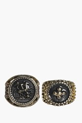Boohoo Emma Vintage Sovereign Style Ring Pack Gold