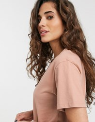 Weekday Alanis Organic Cotton Round Neck T Shirt In Dusty Rose Pink