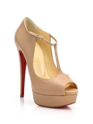 Christian Louboutin Leather Peep Toe Platform Pumps Nude Black