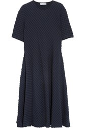Jil Sander Stretch Cotton And Seersucker Midi Dress Navy