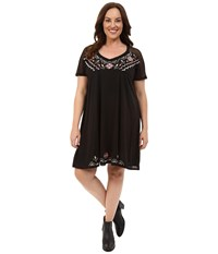 Roper Plus Size 0231 Poly Slub Jersey Dress Black Women's Dress