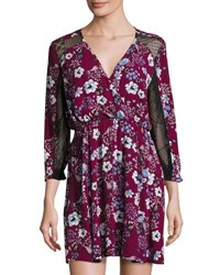 19 Cooper Floral Print Lace Trim Dress Dark Red