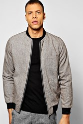 Boohoo Slim Fit Tweed Tailored Bomber Brown